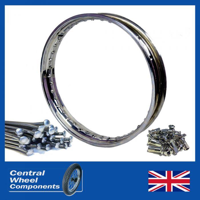 "18/"" WM2 Stainless Steel Wheel Rim /& Spoke Set Kawasaki KE175 B1 Drum Rear"
