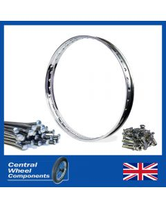 Polished BSA Rim & Spoke Kit - Bantam D1 D3 Hub Rear - (19inchWM1)