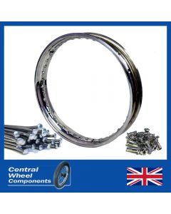 19 WM1 Stainless Rim & Spokes Set Francis Barnett 5 Full Width (Tin Centre) Hub (Front)