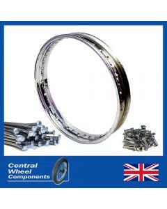 Stainless Wheel Rim & Spoke Set 18x2.15 Vincent Rapide Shadow Comet Rear Hub