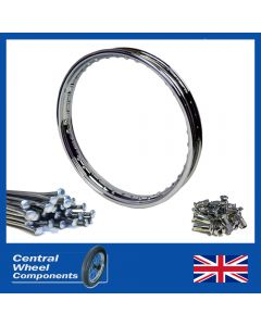Chrome Rim & Spoke Set - 19 x 1.85 (40) - BSA QD (Crinkle/Off Set) Rear (B31, B32, B33, M20, A7, A10, A50, A65)