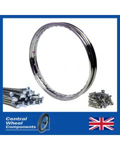 Polished Stainless Norton Rim & Spoke Set - Commando Front Disc Hub 19 WM2