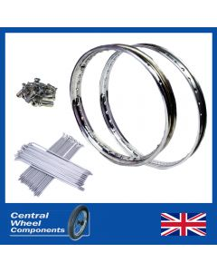 Yamaha Stainless Rim & Spokes Set DT250 Front 21 WM1 Single Sided & Rear 18 WM2 Drum