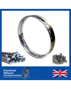 "WM3 18"" Polished Stainless ARIEL Rim & Spoke Set Square 4 (Large) Single Sided Rear (Rigid Frame Up to 1949"