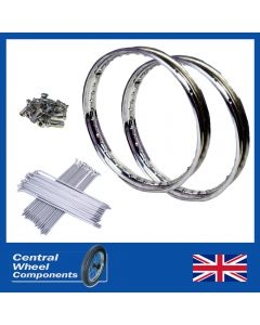 Royal Enfield Stainless Wheel Rim & Spokes Set Front and Rear 19 included