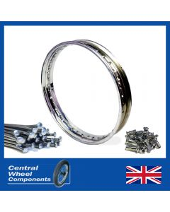 Polished Triumph Rim & Spoke Set - Rear Disc - (18inchWM3) - T140, T150, T160