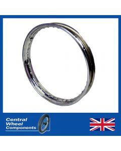 Velocette LE Stainless Wheel Rim - Valiant Full Width Hubs - Front/Rear (18 WM2)